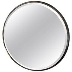Monumental Round Gunmetal and Brass Mirror by Brueton