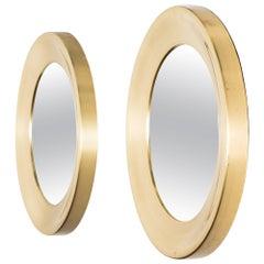Pair of Round Mirrors in Brass by Glas Mäster in Sweden