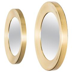 Pair of Round Mirrors in Brass by Glas Mäster in Sweden