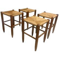 Charlotte Perriand Set of Bauche Rush Stools in Vintage Condition Rare Rocking