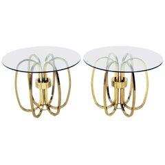 Pair of Sculptural Brass Loop Tables