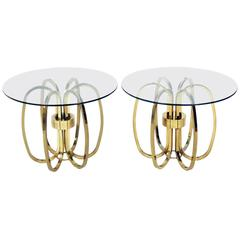Pair of Sculptural Brass Loop Tables