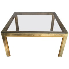 Italian 1970s Brass and Metal Side or Coffee Table with Smoked Glass Top