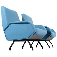 Pair of Italian Mid-Century Lounge Chairs Marco Zanuso Style