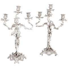 Rococo Style Pair of Antique French Silver Candelabra by Ernest Cardeilhac