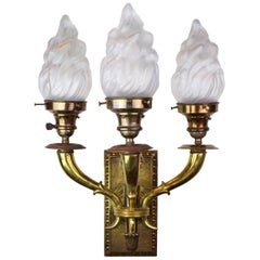 Brass Three Arm Sconce with Flame Shades