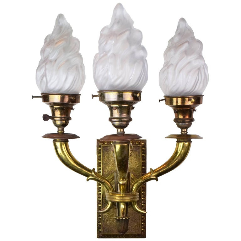 Brass Three Arm Sconce With Flame Shades At 1stdibs