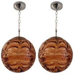 Pair of Doria Murano Glass Globe 1960s Pendants