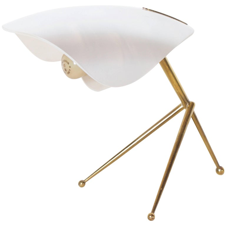 1952 Table Lamp with Brass Tripod Base Attributed to Stilnovo