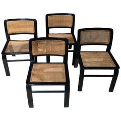 Italian Chairs by Acerbis from 1970s with Straw of Vienna on Seat and Back