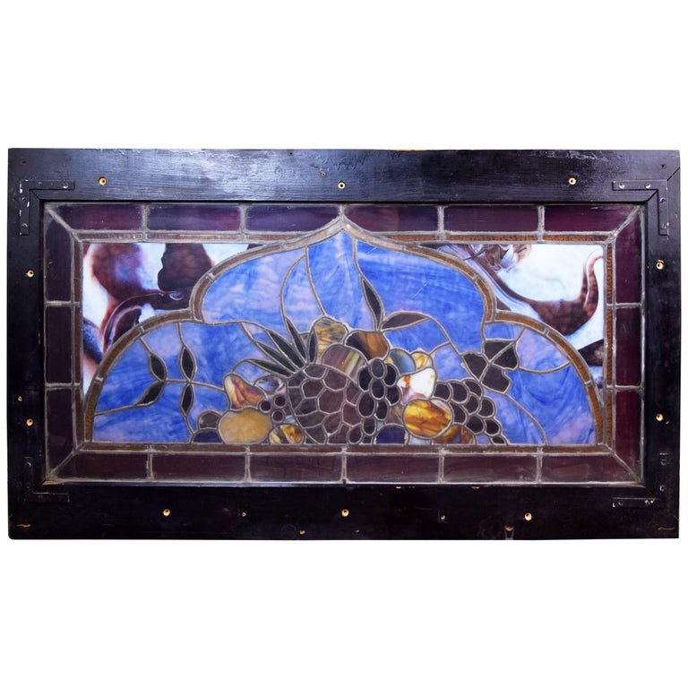 Victorian transom stained glass window with fruit circa for 1900 stained glass window
