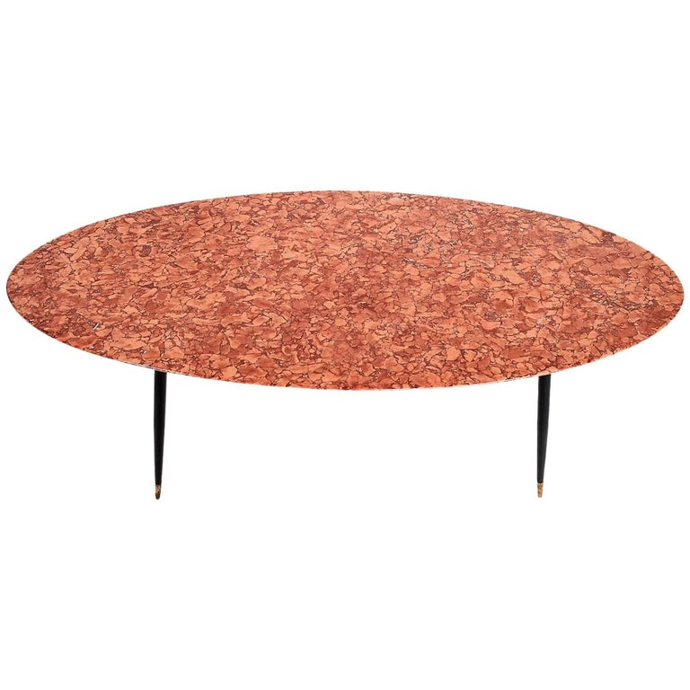 Mid-Century Italian Red Marble Coffee or Side Table, 1950s