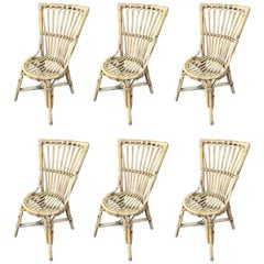 Beautiful Set of Six Audoux Minet Wicker Chairs, circa 1960