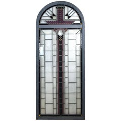 Art Deco Arched Panel with Textured Glass