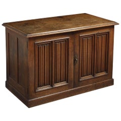 Early Victorian Linenfold Oak Side Cabinet