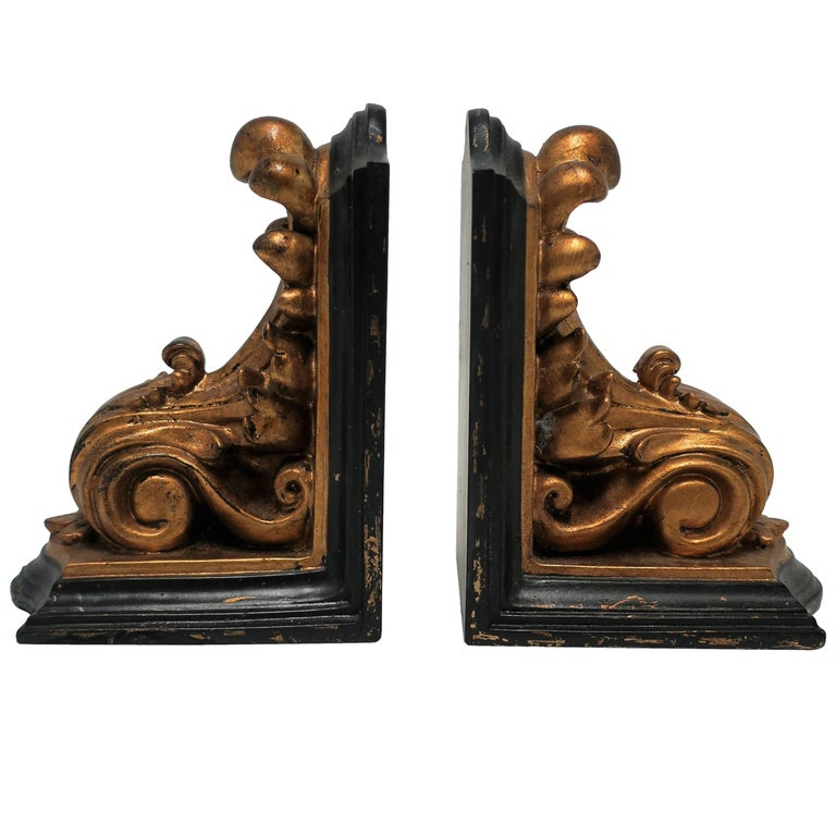 Black and Gold Rococo Style Bookends