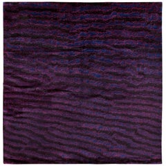 Purple Silk Area Rug with Fish Skin Pattern by Joseph Carini