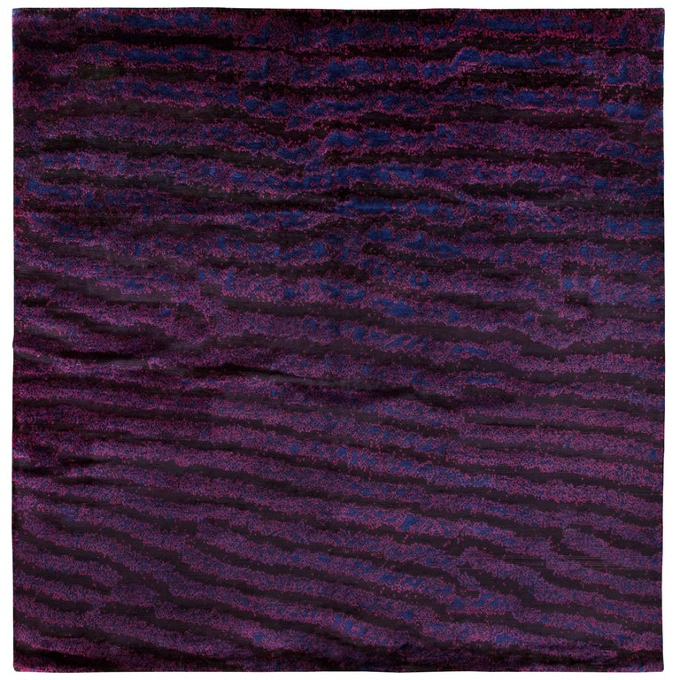 Purple silk area rug with fish skin pattern by joseph for Fish area rug