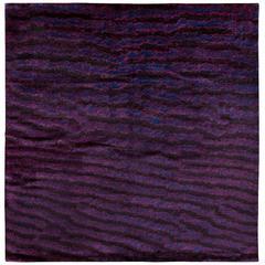 Purple Silk Area Rug with Fish Skin Pattern by Joseph Carini