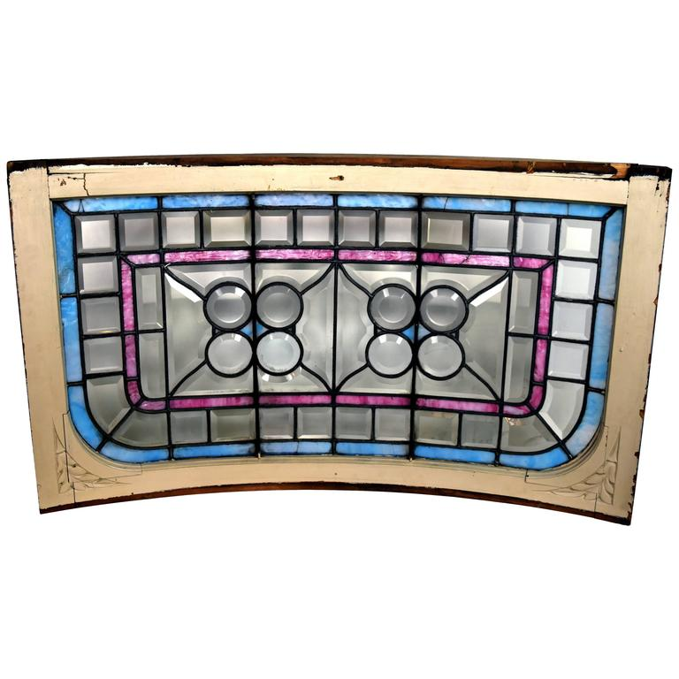Curved Victorian Window with Clam Roundels, circa 1900 For Sale