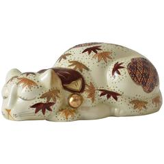 Japanese Kutani Hand-Painted Porcelain Sleeping Cat, circa 1930