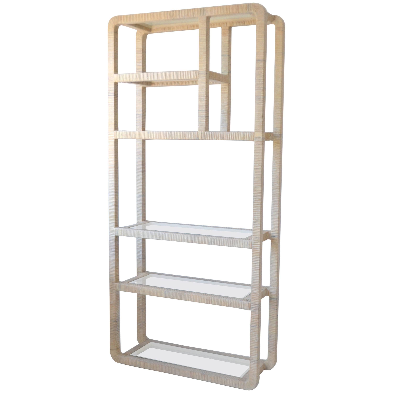 midcentury whitewashed rattan bookcase etagere