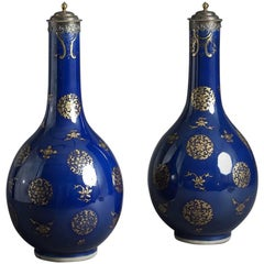 Chinese Blue Glazed Bottle Vases