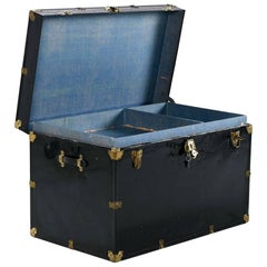 Black Enamel Leather Handle Campaign Style Steamer Military Trunk
