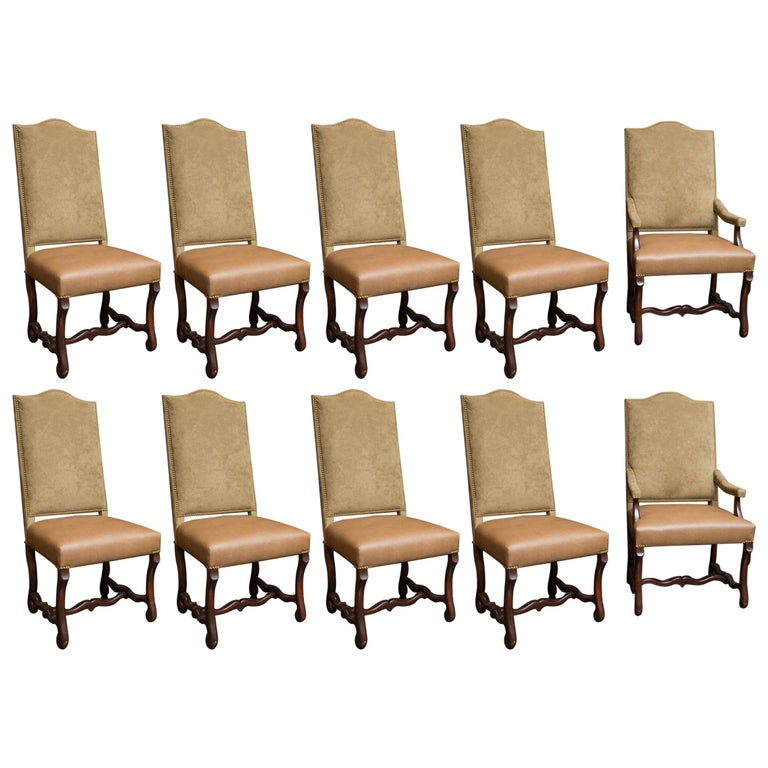 Set of 10 upholstered dining chairs with nailhead trim for for Upholstered dining chairs for sale