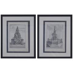 Two 18th Century Etchings of Fountain Scenes