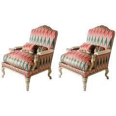 Pair of Louis XV Bergeres Chairs with Original Fabric, circa 1900