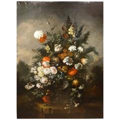 Large Bouquet of Flowers in the Spirit of the 17th Century Oil on Canvas, France