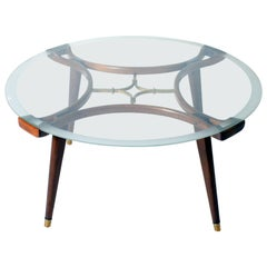 Walnut coffee table with brass details by William Watting for Fristho, c. 1950