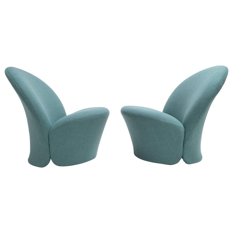 Rare Pair of Pierre Paulin F572 Chair for Artifort 1967 Aqua Marine Ploeg Wool 1