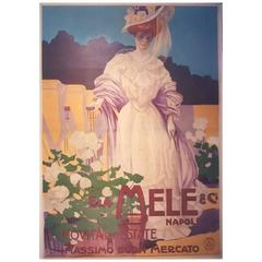 Large Italian Art Nouveau Period Fashion Poster, circa 1900