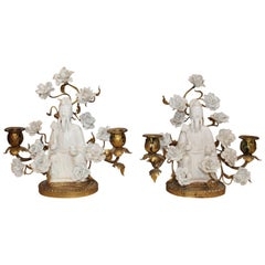 Pair of Chinese and French Porcelain Girandoles with Bronze Mounts