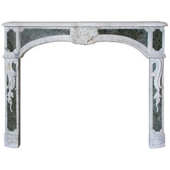 Louis XV Style Mantelpiece circa 1920 in Statuary Marble with Antico Verde