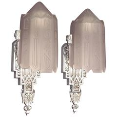 Very High Style Vintage American Art Deco Wall Sconces with Original Glass