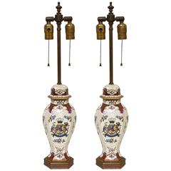 Pair of Samson et Cie Armorial Vases Mounted as Lamps