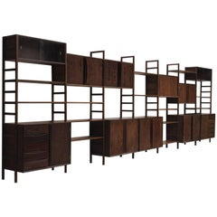 Large Luxurious Custom-Made Belgian Wall Unit in Wenge, 1960s