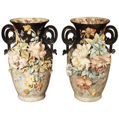Pair of 19th century French Barbotine Vases, Edouard Gilles, Paris