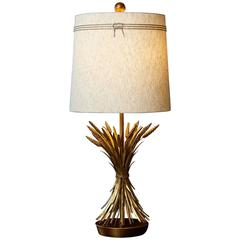 Sheaf of Wheat Gilt Metal Table Lamp by Marbro, Lamp 1