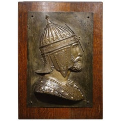 Metal Plate Representing a Qadjar Warrior Signed D. Lenoir, France 19th Century