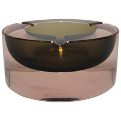 Modern Italian Murano Sommerso Art Glass Bowl or Ashtray Seguso