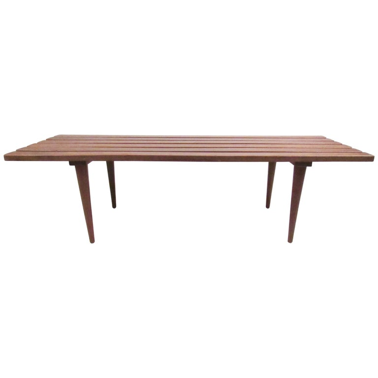 Vintage Modern Slat Bench Coffee Table For Sale At 1stdibs