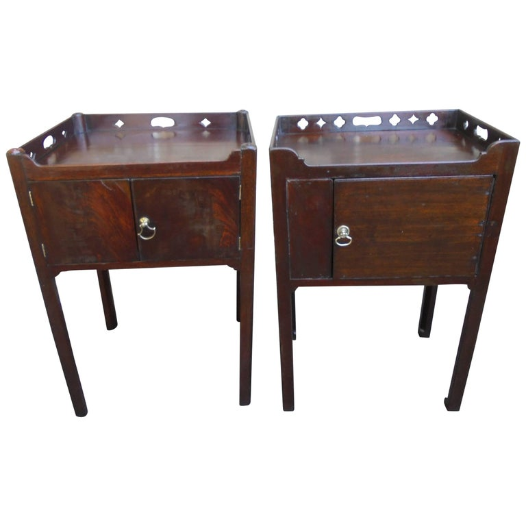 Matched Pair Of Geo Iii Mahogany Tray Top Bedside Tables
