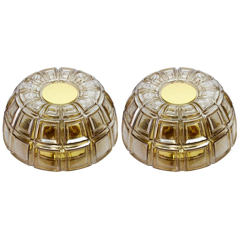 Pair of Topaz Toned Textured Glass Flush Mount Wall Lights or Sconces by Limburg