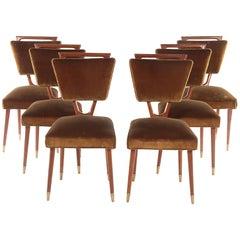 Set of Six Italian Mid-Century Mahogany Dining Chairs