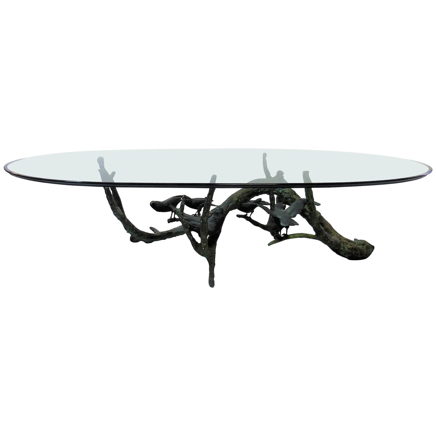 Bronze Coffee Table with Birds by Valenti For Sale at 1stdibs