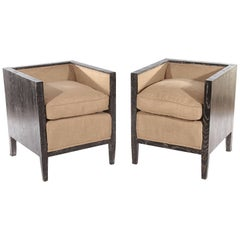 Pair of Sculptural Cerused Oak Chairs in the Manner of Jean-Michel Frank